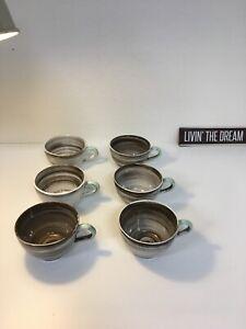 Set of 6 Vintage Mugs, Santa Anita Ware, Swirl Brown Green 1951
