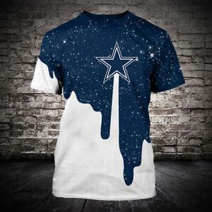 Dallas Cowboys Football Short Sleeve T-Shirt Summer Casual Tee Tops Fans Gifts