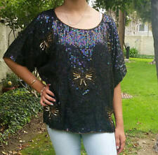 Vintage JEWEL QUEEN Iridescent Sequins Holiday Bow Party Top M