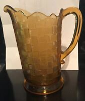 EAPG Co-Operative Flint Pattern 110 (Basketweave) Amber Water Pitcher Circa 1887