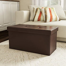 Ottoman Folding Storage Bench Tufted Faux Leather Cube Brown Home Chest
