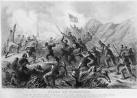 Civil War SIEGE OF VICKSBURG FIGHT IN CRATER MINE ~ Old 1862 Art Print Engraving