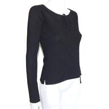 NEIMAN MARCUS CASHMERE Black Boat Neck Tie Collar Accent Sweater Small -INV5210