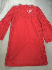 #M&S RED LACE DRESS WITH BELL SLEEVES & RED BOW AT BACK OF NECK -SIZE 16 BNWT