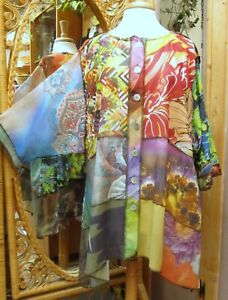Sterling Styles Shorter Happy Coat Patchwork Button Up One Size Art to Wear