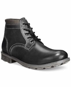 Clarks Men's Darian Mid Black Leather Lace Up Boots UK size 8