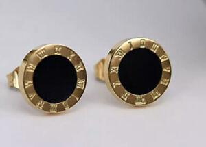 Ohrringe Ohrstecker Römische Ziffern Zahlen Bulgarien Luxus Gold Emailie Schwarz