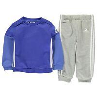 adidas Sport Logo Jogger Infant Baby Toddler Kids Boys Tracksuit Set Grey/ Blue