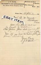 1904 J O BASS Maker of BITS & SPURS Quitaque Tulia Texas JAMES OSCAR Atlanta GA
