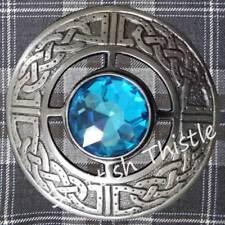 Scottish Kilt Fly Plaid Brooch Sky Blue Stone Antique Finish Celtic Ladies Shawl