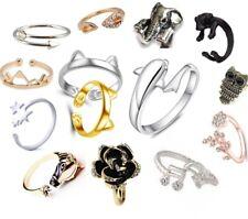 ADJUSTABLE RINGS Open Band Ladies Finger Thumb Ring Dog Cat Animal Free UK P&P