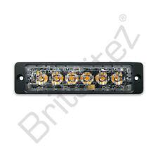 High Intensity 6 x 3W LED Warning Light Slimline SUPER Strobe 12/24V AMBER