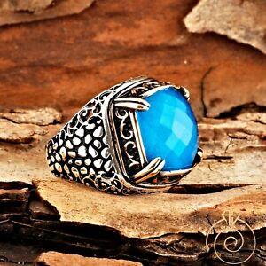 Mens Aquamarine Cobblestone Authentic Ring Silver Blue Stone Square Vintage Band