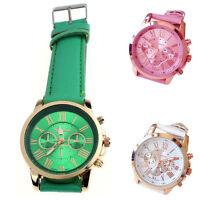 Women's Roman Numerals Faux Leather Analog Quartz Wrist Watch
