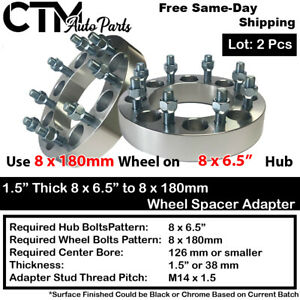 "2P 1.5"" THICK 8x6.5"" to 8x180mm WHEEL SPACER ADAPTER FIT 9/16 CHEVY DODGE & MORE"