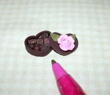 Miniature Chocolate Candy Heart, Rose Top: DOLLHOUSE Valentine's Day 1:12