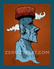 Moai Easter Island Tiki Bar Art Print Polynesian Man Cave Artwork Rapa Nui Decor