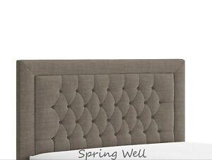 Crushed Velvet Linen Fabrics Beautiful Alton Bumper Buttons Headboard 26'' High