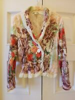 Alberto Makali Velvet Lace Trim Crinkle Floral Button Blazer/Jacket Size Large