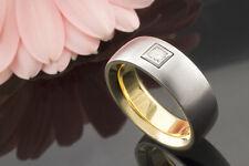 Schmuck Solitär Ring Diamant Princess Schliff 750 Weißgold innen Gelbgold Massiv