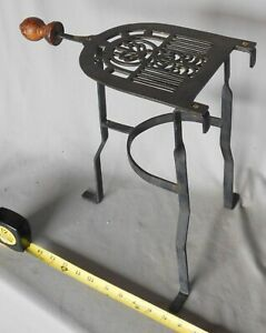Antique vtg trivet brass iron fireplace hearth wood handle footman hearth stand