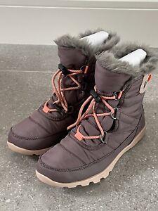 Sorel Whitney Short Lace Purple Sage Nylon Boots, Junior Uk 5