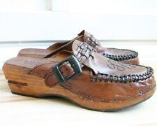 VTG 70s rust leather wood heel platform clogs shoes woven tie slip on mule 7 7.5