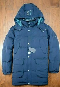 Armani Exchange A|X $350 Mens Relaxed Fit Navy Down Puffer Winter Jacket Parka L