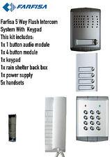 FARFISA 5 VIE A FILO Intercom Sistema Audio/KIT 1 xintercom 5 xhandsets 1x TASTIERA