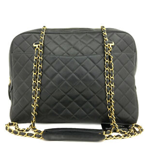 CHANEL Quilted Lambskin CC Logo Large Chain Shoulder Tote Bag Black /90599