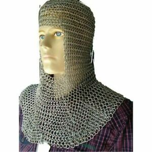 Aluminum Chain mail Hood Armor Square Face 16 Gauge Knight Coif Silver
