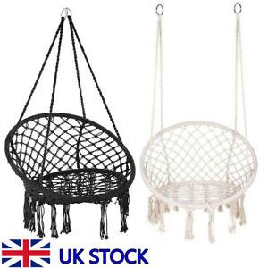 UK Hanging Hammock Chair Outdoor Indoor Garden Patio Rope Net Swing Macrame Seat