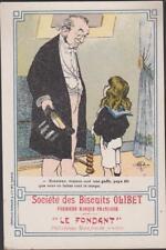 CHROMO PUBLICITAIRE humoristique- BISCUITS OLIBET LE FONDANT- GAUFRETTES