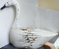 Antique Vintage Folk Art Primitive Rustic Wood White Snow Goose Swan Decoy F&S