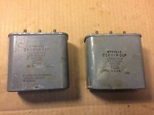 2 Vintage Sprague 2+2 uf 2000v Bathtub Oil Capacitors tube amp caps TESTED GOOD