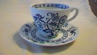 J & G Meakin England Teacup & Saucer Ironstone Blue Nordic Flat Tea Coffee Cup