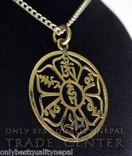 Redondo Amuleto BUDA COLGANTE CÍRCULO Mantra compasión Talismán de NEPAL 08a