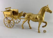 Grande charrette en laiton, 40 cm, complète avec banc et lanterne, cheval, Horse