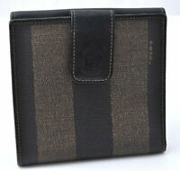 Authentic FENDI Pequin Pattern PVC Leather Wallet Brown B1087