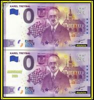 Lot de 2 - Billet Touristique Souvenir 0 Euro - Karel Treybal 2020 Anniversary