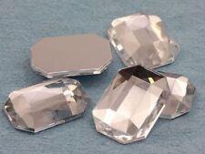 8x6mm Crystal Clear A01 Flat Back Octagon Acrylic Gemstones - 100 PCS