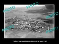 OLD LARGE HISTORIC PHOTO OF CAMDEN NEW SOUTH WALES AERIAL VIEW OF THE TOWN c1940