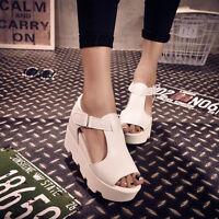 Women Peep Open Toe Platform Wedge High Heel Gladiator Boot Chunky Sandals Shoes