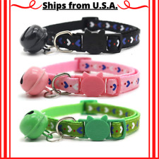 3 Pcs Adjustable Cat Collars Breakaway with Bells Safe Kitty Quick Release Strap