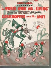 World Owes Me A Living 1937 Silly Symphony Grasshopper and the Ants Sheet Music