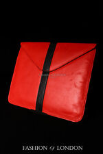 iPad Sleeve 1 2 3 4 5 AIR Red Black Stripe Lambskin Genuine Leather Cover Pouch