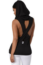 Black Hooded Vest Top Sleeveless T-shirt Hoodie Top size 10-12