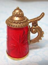 Older Thimble Cut RED Glass German Stein w Working Lid Gold Metal Star Design SH