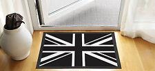 61x40.6cm BIANCO & nero bandiera UK PORTA D'INGRESSO TAPPETINO ANTISCIVOLO