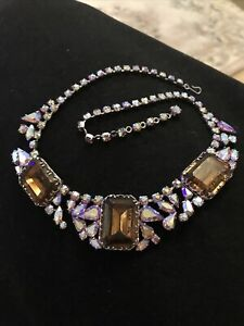 Stunning Deco Necklace Multi Coloured Aurora Borealis And Amber Glass 18 Inches